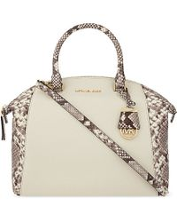 MICHAEL Michael Kors | Natural Riley Large Snake Print Leather Satchel | Lyst