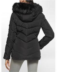 Calvin Klein - Black White Label Chevron Stitched Faux Fur Hood Puffer Coat - Lyst