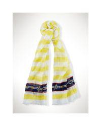 Ralph Lauren - Yellow Lightweight Striped Scarf - Lyst