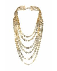 TOPSHOP | Metallic Beaten Square Multi Row Necklace | Lyst