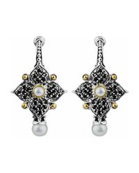 Konstantino | Gray Spinel & Pearl Quatrefoil Flower Earrings | Lyst