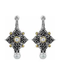 Konstantino - Gray Spinel & Pearl Quatrefoil Flower Earrings - Lyst