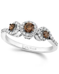 Le Vian - White And Chocolate Diamond 3-stone Ring (1/2 Ct. T.w.) In 14k White Gold - Lyst