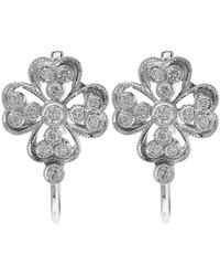 Kojis - Metallic White Gold Floral Diamond Drop Earrings - Lyst