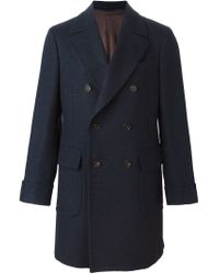 Dell'Oglio - Blue Double Breasted Midi Coat for Men - Lyst
