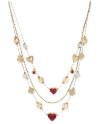 Betsey Johnson | Pink Gold-Tone Pavé Card Suit Illusion Necklace | Lyst