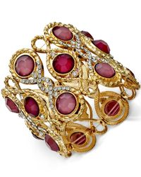 INC International Concepts | Purple Gold-tone Mauve Stone Pavé Stretch Bracelet | Lyst