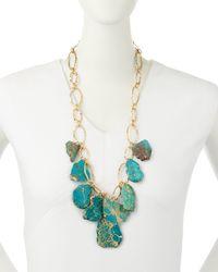 Panacea - Blue Hammered Golden Statement Necklace - Lyst