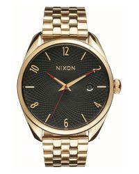 Nixon - Metallic 'bullet' Guilloche Dial Bracelet Watch - Lyst