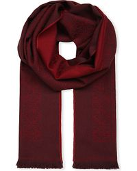 Loewe - Red Anagram Jacquard Wool Scarf - Lyst