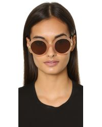 Ferragamo - Natural Gancino Round Sunglasses - Lyst