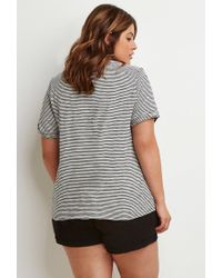 Forever 21 | Black Plus Size Striped Cuff-sleeve Tee You've Been Added To The Waitlist | Lyst