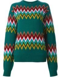 Jeremy Scott - Green Zig-zag Intarsia Sweater - Lyst