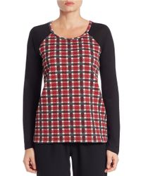 Sanctuary | Red Plaid Jersey Raglan Tee | Lyst