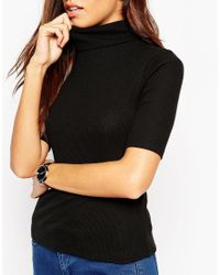 ASOS - Black Turtle Neck Top In Textured Rib - Lyst