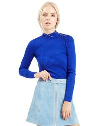 TOPSHOP - Blue Ribbed Long Sleeve Crop Top - Lyst