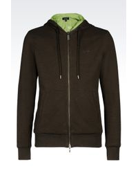 Armani Jeans | Green Full Zip Sweatshirt With Hood for Men | Lyst