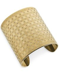 Michael Kors | Metallic Gold-Tone Clear Wide Monogram Cuff Bracelet | Lyst