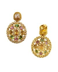 Amrapali - Metallic Diamond And Colored Tourmaline Drop Earrings - Lyst