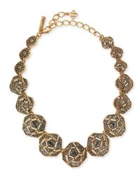 Oscar de la Renta | Metallic Pave Crystal Geometric Rose Necklace | Lyst