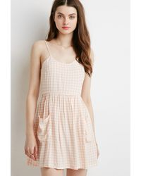 Forever 21 | Pink Gingham Fit And Flare Cami Dress | Lyst
