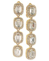 Carolee | Metallic Silver-Tone Blue Stone And Pavé Crystal Linear Clip-On Earrings | Lyst