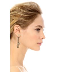 Oscar de la Renta | Metallic Crystal Pave Drop Earrings | Lyst