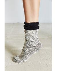 Urban Outfitters | Black Crochet Cuff Slouchy Sock | Lyst