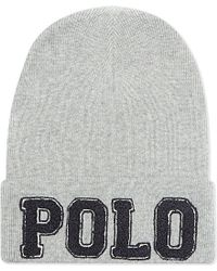 Ralph Lauren - Gray Polo Cotton Beanie for Men - Lyst