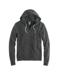 J.Crew - Black Brushed Fleece Zip Hoodie for Men - Lyst