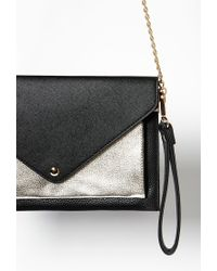 Forever 21 - Black Colorblocked Faux Leather Envelope Crossbody You've Been Added To The Waitlist - Lyst