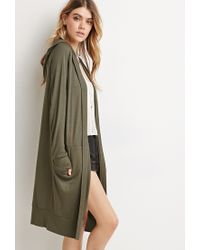 Forever 21 | Green Longline Hooded Cardigan | Lyst