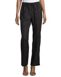 Neiman Marcus - Black Linen Straight-leg Drawstring Pants - Lyst