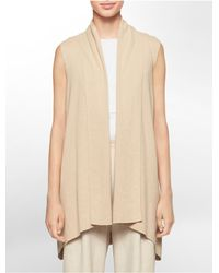 Calvin Klein - Natural White Label Flyaway Front Sweater Vest - Lyst