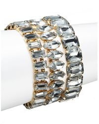 R.j. Graziano - Metallic Multi-shaped Crystal Stretch Bracelets - Lyst