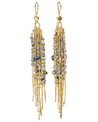 Natasha Collis | Multicolor 18kt Yellow Gold Fringe 'treasure' Earrings | Lyst