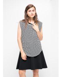 Mango - Multicolor Chiffon Check Tshirt - Lyst
