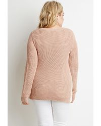 Forever 21 | Pink Plus Size Floral Crochet-paneled Rib Sweater | Lyst