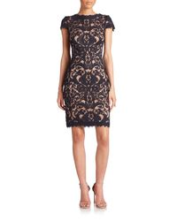 Tadashi Shoji | Blue Cord-embroidered Lace Cocktail Dress | Lyst