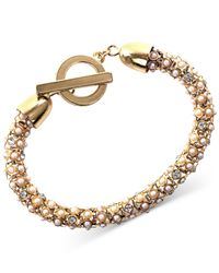 Anne Klein | Metallic Gold Tone And Pearl Tubular Bracelet | Lyst