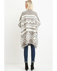 Forever 21 - Gray Geo-pattern Cardigan - Lyst