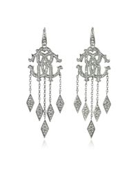 Roberto Cavalli | Metallic Rc Luxe Silver Metal Earrings W/crystals | Lyst
