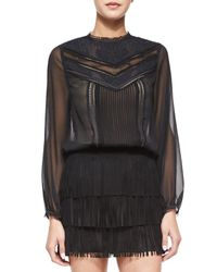 Alice + Olivia - Black Layna Mixed-lace Top - Lyst