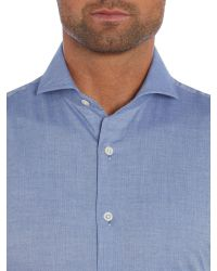 Chester Barrie | Blue Herringbone Tailored Fit Long Sleeve Shirt for Men | Lyst