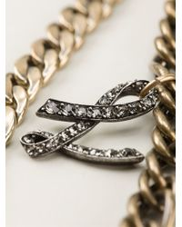 Lanvin - Metallic Double Chain Opera Necklace - Lyst