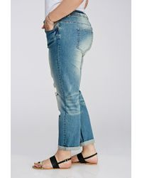 Forever 21 - Blue Plus Size Distressed Boyfriend Jeans - Lyst