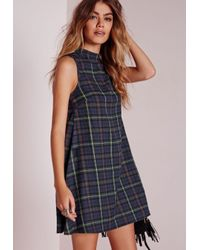 Missguided | Blue High Neck Sleeveless Swing Dress Navy Check | Lyst