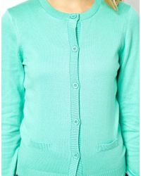 ASOS - Green Button Front Cardigan with Crew Neck - Lyst