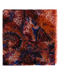 Kiton - Red Paisley Print Scarf for Men - Lyst