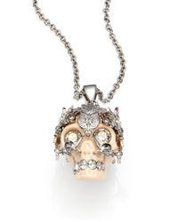 Alexander McQueen - Metallic Skull Owlet Pendant Necklace - Lyst